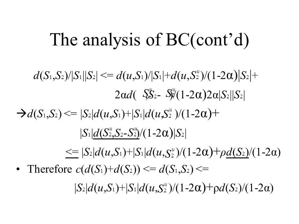 The analysis of BC(cont'd) d(S 1,S 2 )/ S 1   S 2   <= d(u,S 1 )/ S 1  +d(u, )/(1-2 α)  S 2   + 2αd(,S 2 - )/(1-2 α) 2α S 2   S 2    d(S 1,S 2 ) <=  