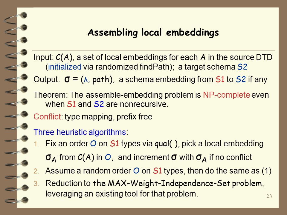23 Assembling local embeddings Input: C(A), a set of local embeddings for each A in the source DTD (initialized via randomized findPath); a target schema S2 Output: σ = (λ, path), a schema embedding from S1 to S2 if any Theorem: The assemble-embedding problem is NP-complete even when S1 and S2 are nonrecursive.