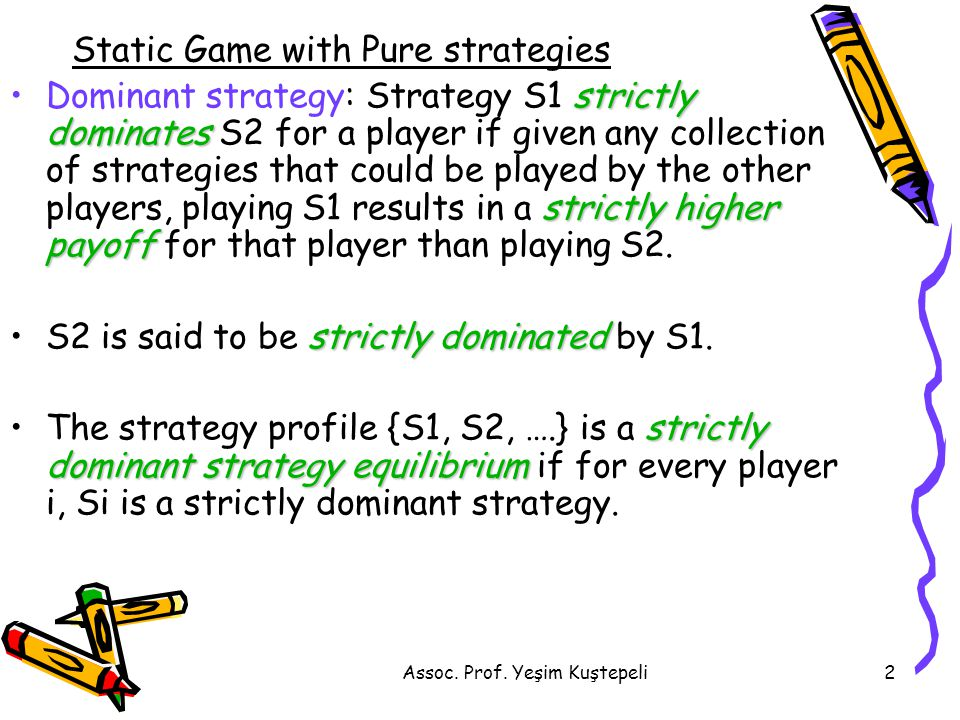 Assoc. Prof. Yeşim Kuştepeli2 Static Game with Pure strategies strictly dominates strictly higher payoffDominant strategy: Strategy S1 strictly domina