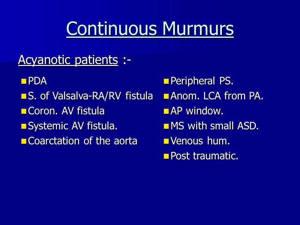 Continuous Murmurs Acyanotic patients :- PDA PDA S.
