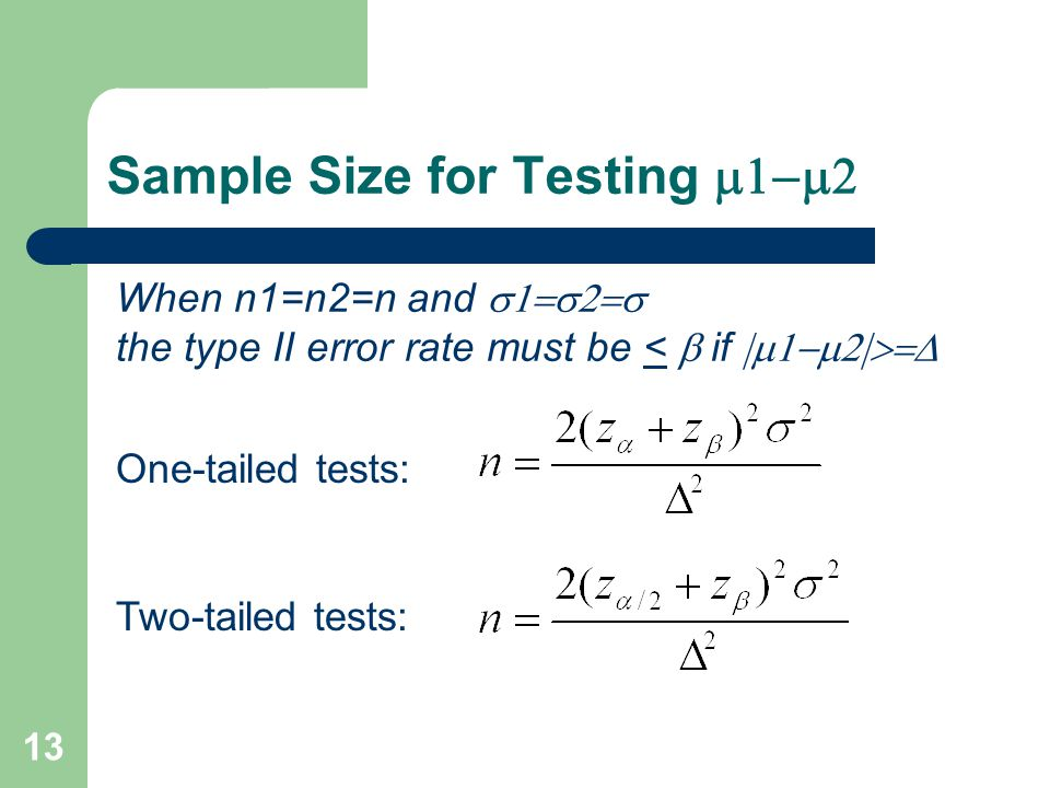 Sample Size for Testing  When n1=n2=n and  the type II error rate must be <  if  One-tailed tests: Two-tailed tests: 13
