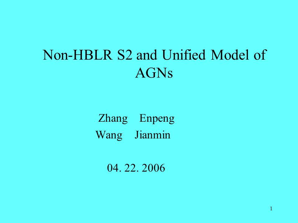 1 Non-HBLR S2 and Unified Model of AGNs Zhang Enpeng Wang Jianmin 04. 22. 2006