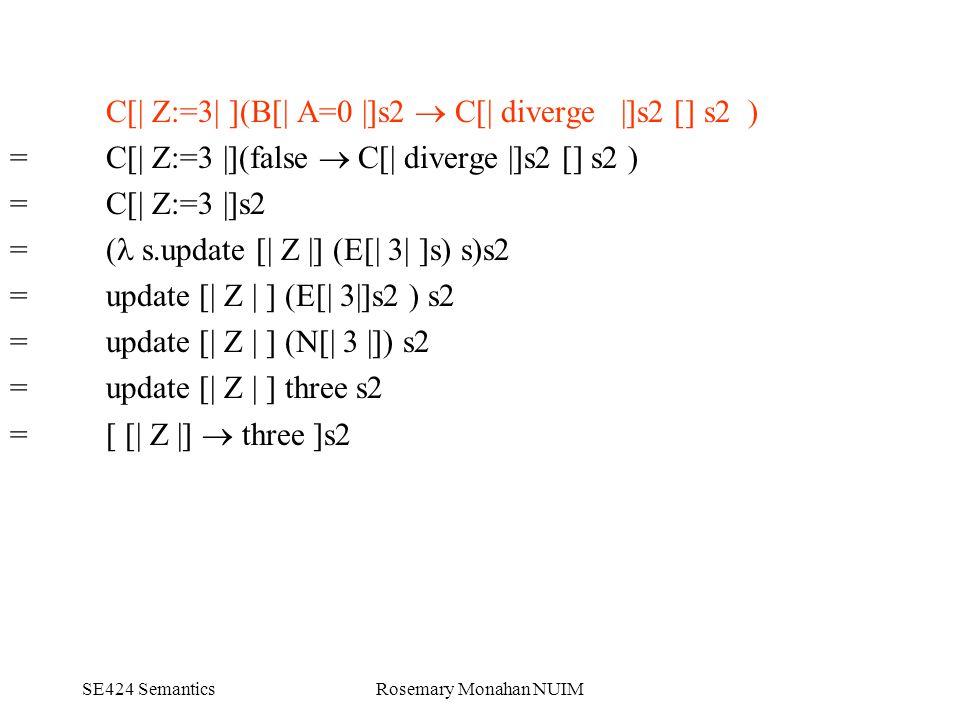 SE424 SemanticsRosemary Monahan NUIM C[| Z:=3| ](B[| A=0 |]s2  C[| diverge |]s2 [] s2 ) = C[| Z:=3 |](false  C[| diverge |]s2 [] s2 ) = C[| Z:=3 |]s2 = ( s.update [| Z |] (E[| 3| ]s) s)s2 = update [| Z | ] (E[| 3|]s2 ) s2 = update [| Z | ] (N[| 3 |]) s2 = update [| Z | ] three s2 = [ [| Z |]  three ]s2