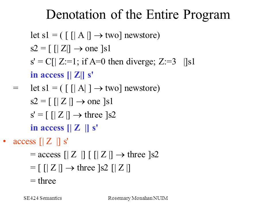 SE424 SemanticsRosemary Monahan NUIM Denotation of the Entire Program let s1 = ( [ [| A |]  two] newstore) s2 = [ [| Z|]  one ]s1 s = C[| Z:=1; if A=0 then diverge; Z:=3 |]s1 in access [| Z|] s = let s1 = ( [ [| A| ]  two] newstore) s2 = [ [| Z |]  one ]s1 s = [ [| Z |]  three ]s2 in access [| Z |] s access [| Z |] s = access [| Z |] [ [| Z |]  three ]s2 = [ [| Z |]  three ]s2 [| Z |] = three
