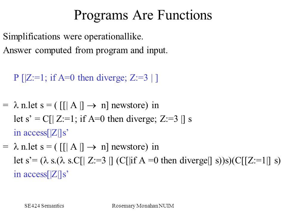 SE424 SemanticsRosemary Monahan NUIM Programs Are Functions Simplifications were operationallike.
