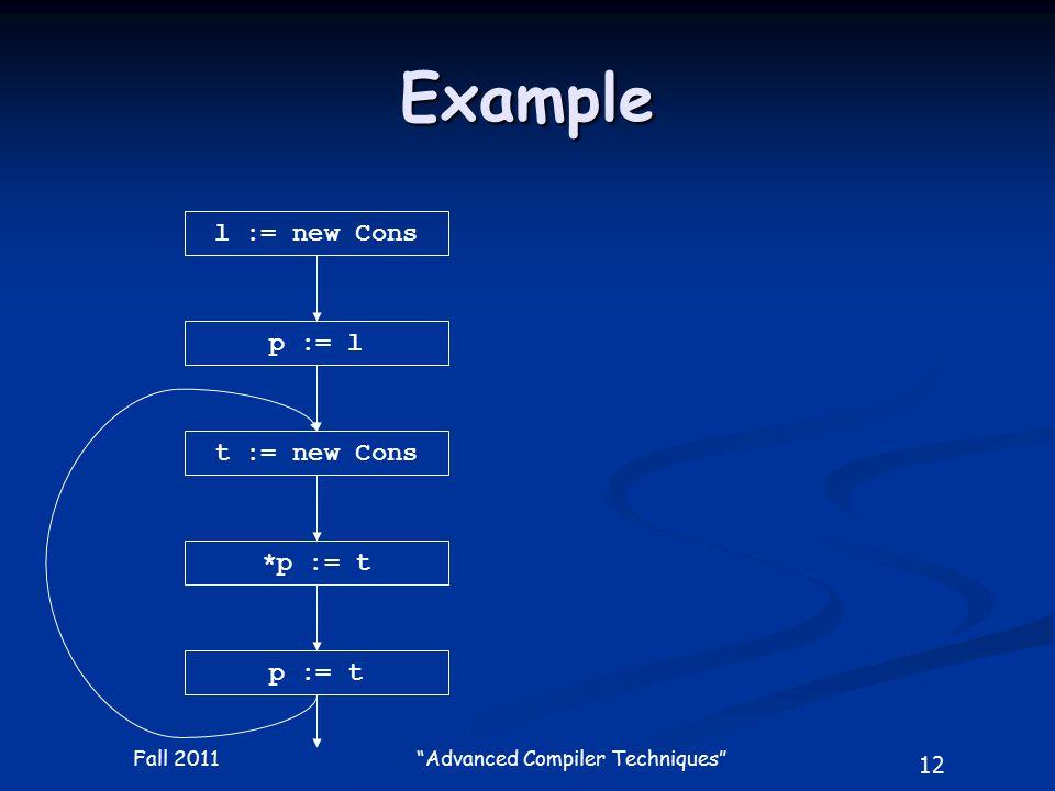 12 Fall 2011 Advanced Compiler Techniques Example l := new Cons p := l t := new Cons *p := t p := t