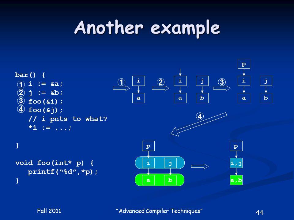 44 Fall 2011 Advanced Compiler Techniques bar() { i := &a; j := &b; foo(&i); foo(&j); // i pnts to what.