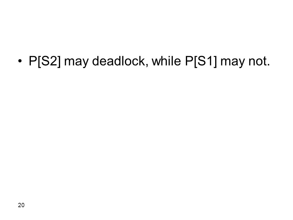 20 P[S2] may deadlock, while P[S1] may not.