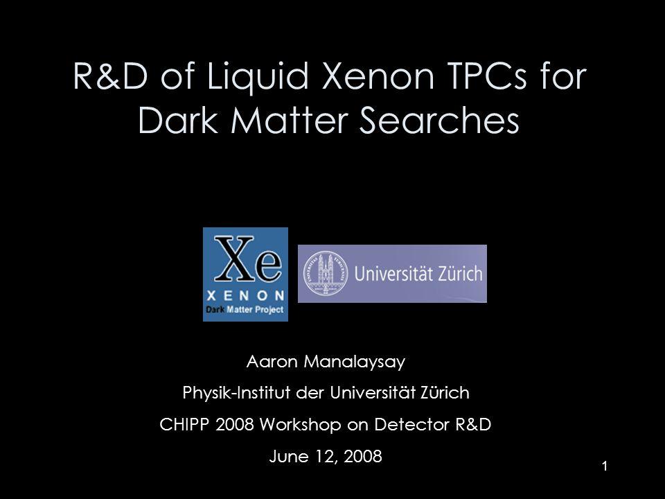 1 Aaron Manalaysay Physik-Institut der Universität Zürich CHIPP 2008 Workshop on Detector R&D June 12, 2008 R&D of Liquid Xenon TPCs for Dark Matter S