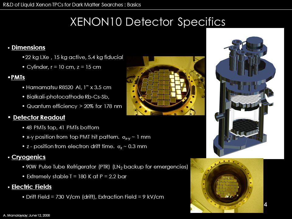 """4 XENON10 Detector Specifics Dimensions 22 kg LXe, 15 kg active, 5.4 kg fiducial Cylinder, r = 10 cm, z = 15 cm PMTs Hamamatsu R8520 Al, 1"""" x 3.5 cm B"""