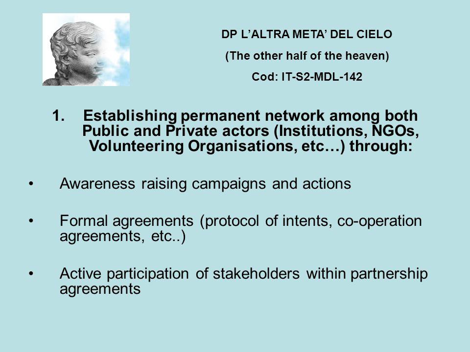 1.Establishing permanent network among both Public and Private actors (Institutions, NGOs, Volunteering Organisations, etc…) through: Awareness raising campaigns and actions Formal agreements (protocol of intents, co-operation agreements, etc..) Active participation of stakeholders within partnership agreements DP L'ALTRA META' DEL CIELO (The other half of the heaven) Cod: IT-S2-MDL-142