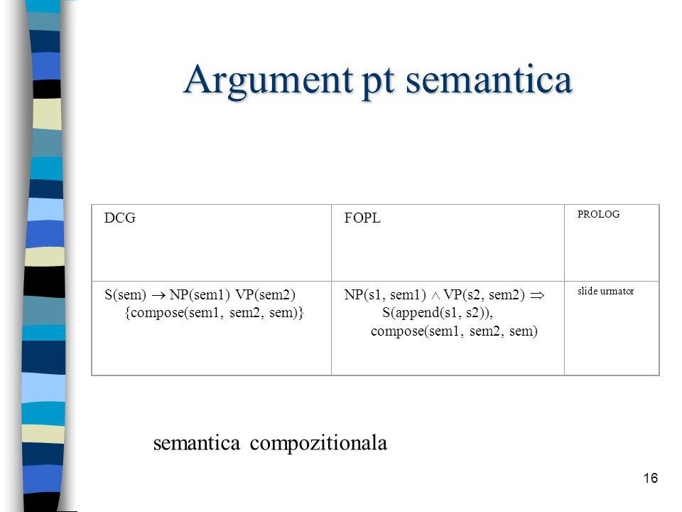 16 Argument pt semantica DCGFOPL PROLOG S(sem)  NP(sem1) VP(sem2) {compose(sem1, sem2, sem)} NP(s1, sem1)  VP(s2, sem2)  S(append(s1, s2)), compose(sem1, sem2, sem) slide urmator semantica compozitionala