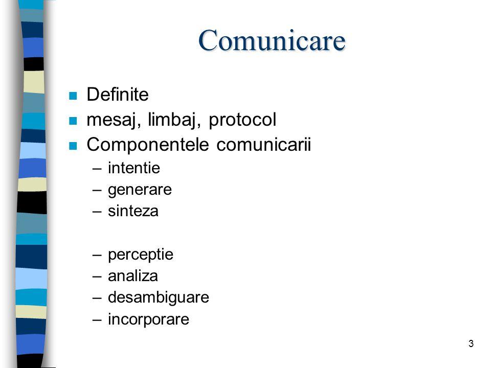 3 Comunicare n Definite n mesaj, limbaj, protocol n Componentele comunicarii –intentie –generare –sinteza –perceptie –analiza –desambiguare –incorporare