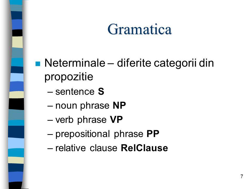 7 Gramatica n Neterminale – diferite categorii din propozitie –sentence S –noun phrase NP –verb phrase VP –prepositional phrase PP –relative clause RelClause