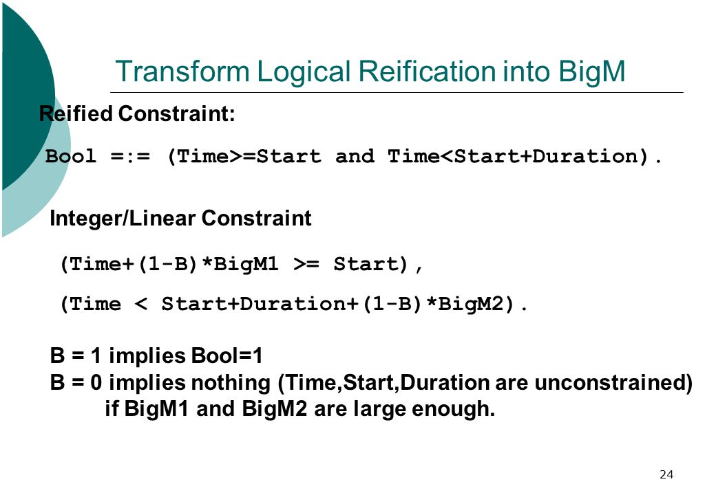 24 Transform Logical Reification into BigM Bool =:= (Time>=Start and Time<Start+Duration). Reified Constraint: Integer/Linear Constraint (Time+(1-B)*B