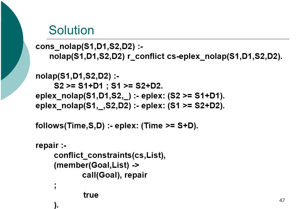 47 Solution cons_nolap(S1,D1,S2,D2) :- nolap(S1,D1,S2,D2) r_conflict cs-eplex_nolap(S1,D1,S2,D2).