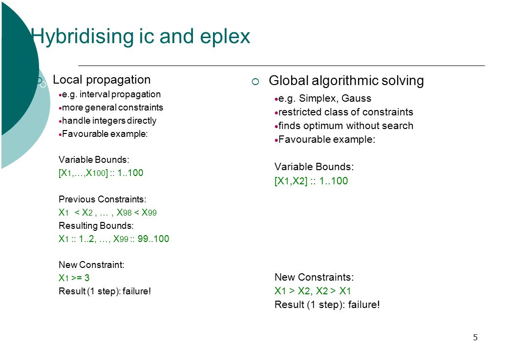 5 Hybridising ic and eplex  Local propagation  e.g.