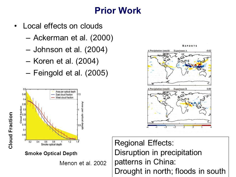 Prior Work Local effects on clouds –Ackerman et al.