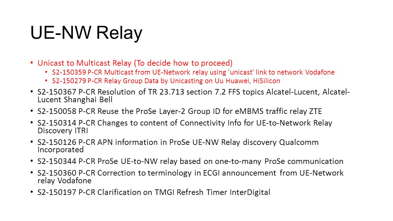 UE-NW Relay Unicast to Multicast Relay (To decide how to proceed) S2-150359 P-CR Multicast from UE-Network relay using 'unicast' link to network Vodaf
