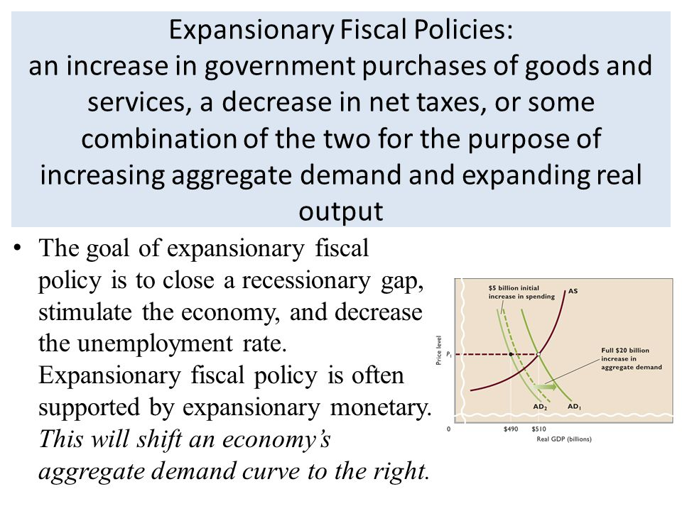 Expansionary Fiscal Policies: an increase in government purchases of goods and services, a decrease in net taxes, or some combination of the two for the purpose of increasing aggregate demand and expanding real output The goal of expansionary fiscal policy is to close a recessionary gap, stimulate the economy, and decrease the unemployment rate.