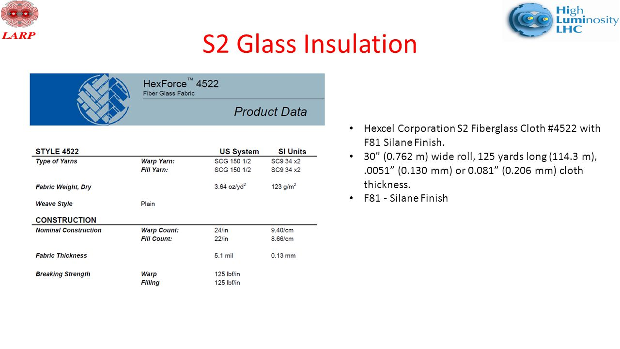 S2 Glass Insulation Hexcel Corporation S2 Fiberglass Cloth #4522 with F81 Silane Finish.