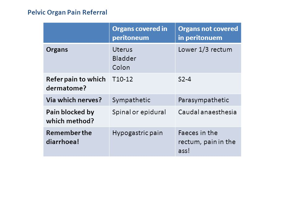 Pelvic Organ Pain Referral Organs covered in peritoneum Organs not covered in peritonuem OrgansUterus Bladder Colon Lower 1/3 rectum Refer pain to whi