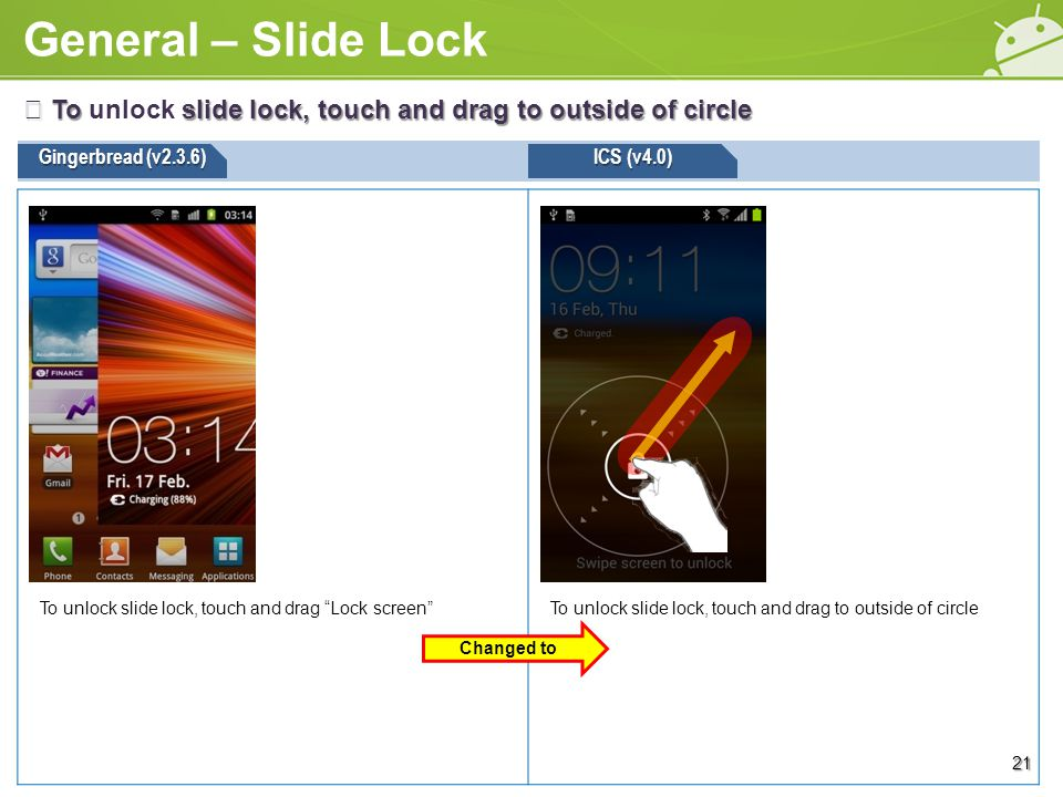 General – Slide Lock Gingerbread (v2.3.6) ※ To slide lock, touch and drag to outside of circle ※ To unlock slide lock, touch and drag to outside of circle ICS (v4.0) To unlock slide lock, touch and drag to outside of circleTo unlock slide lock, touch and drag Lock screen 21 Changed to