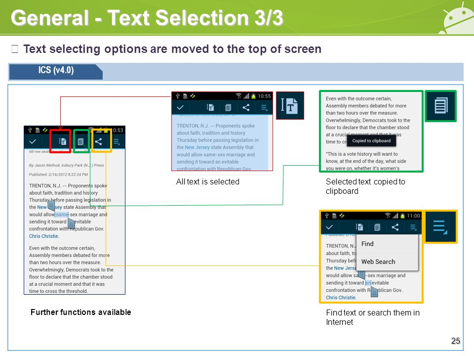 General - Text Selection 3/3 ※ Text selecting options are moved to the top of screen ICS (v4.0) All text is selectedSelected text copied to clipboard Find text or search them in Internet 25 Further functions available