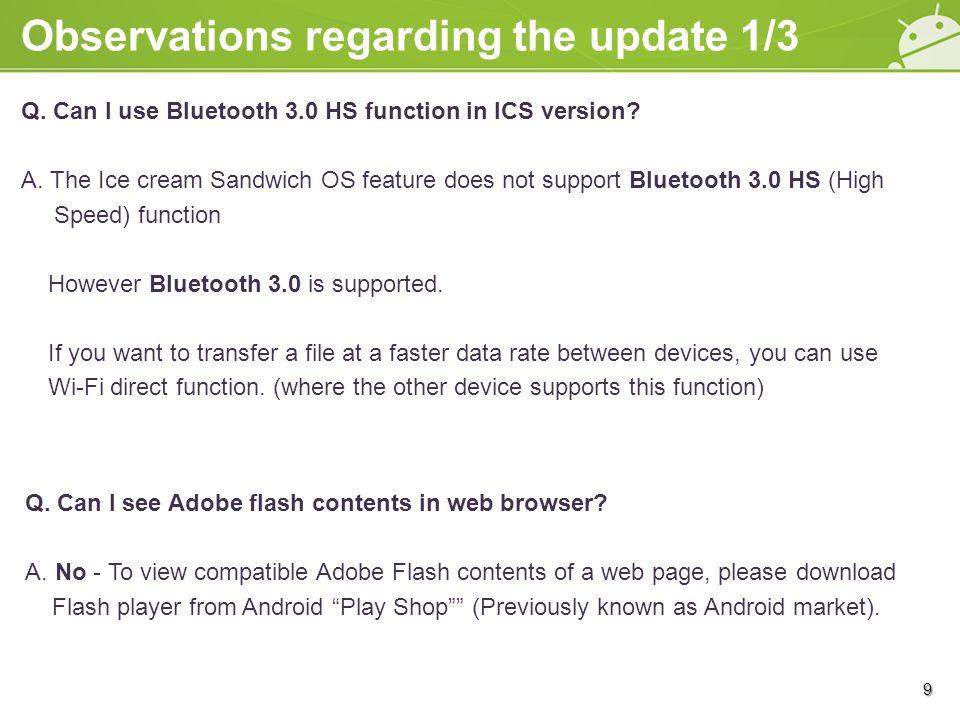 Observations regarding the update 2/3 Q.