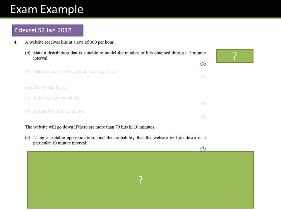 Exam Example Edexcel S2 Jan 2012 (300 hits per hour is 50 hits per 10 mins) ? ?