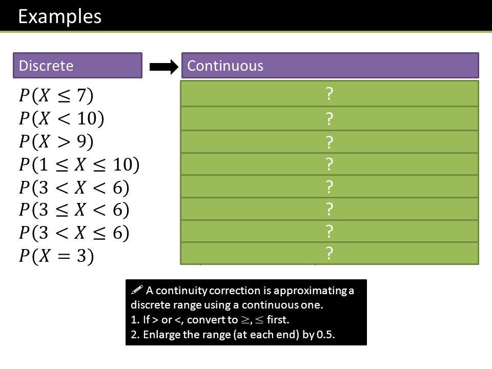 Examples DiscreteContinuous