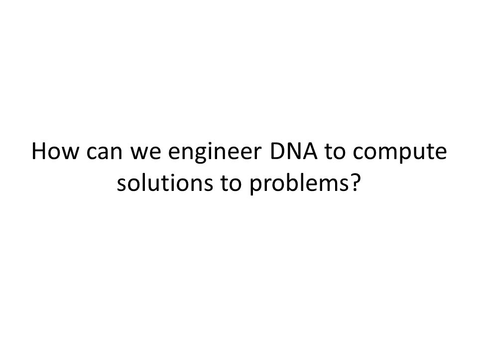 How can we engineer DNA to compute solutions to problems