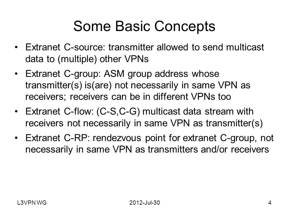 L3VPN WG2012-Jul-305 Some Basic Assumptions Certain sources/RPs are designated by the VPN customer as extranet C-sources; customer communicates this information to SP Extranet C-sources do not also transmit non-extranet C- flows If a receiver can get any C-flow from a given source, it can get all the C-flows from that sources If a receiver can get any traffic to a given ASM multicast group, it can get all the traffic to that group, regardless of sources