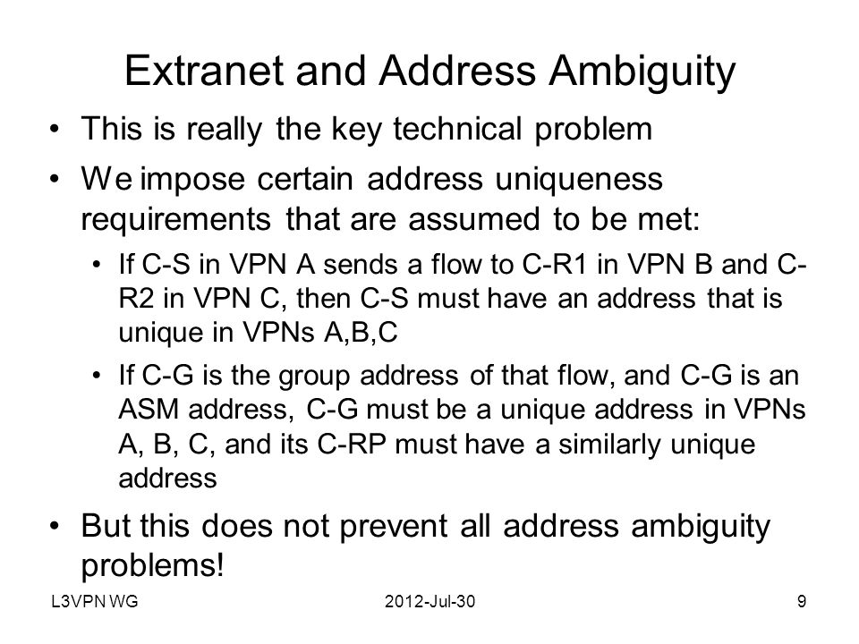 L3VPN WG2012-Jul-3010 Example of Extranet Address Ambiguity PE2 PE1 S2 and S2 are different systems (i.e., ambiguous address between VPNs A and B) The address uniqueness rules are not violated as long as S2 is not imported by D and S2 is not imported by C But suppose a tunnel from A carries both (S1,G) and (S2,G) Then C must import A-D route from A announcing that tunnel C must also import A-D route from B announcing the other tunnel