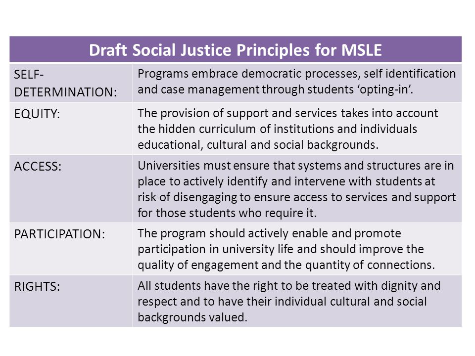 Draft Social Justice Principles for MSLE SELF- DETERMINATION: Programs embrace democratic processes, self identification and case management through students 'opting-in'.