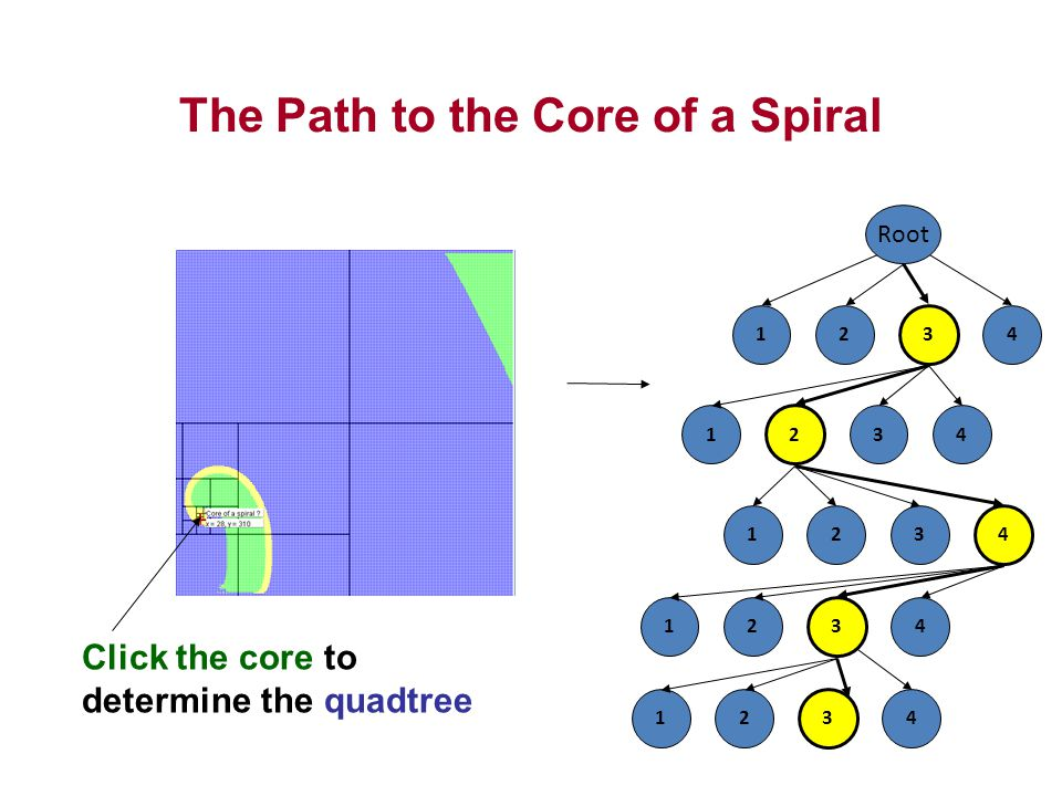 The Path to the Core of a Spiral Root 21 3 4 2 134 213 4 21 3 4 21 3 4 Click the core to determine the quadtree