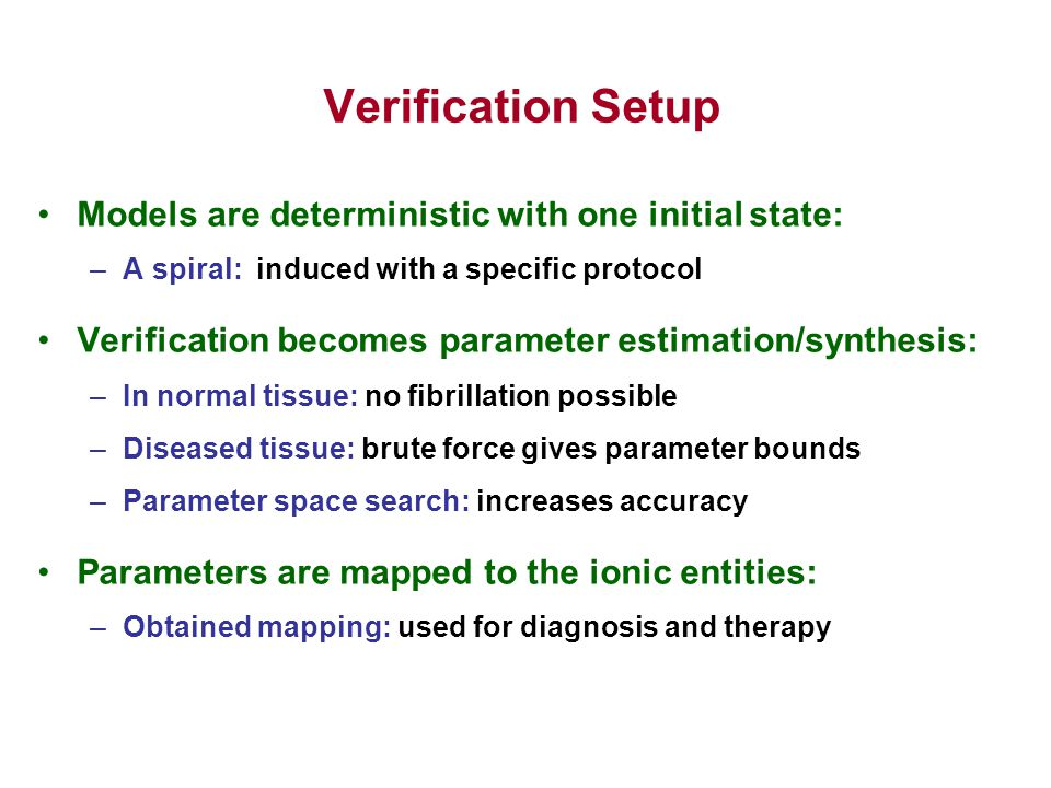 Verification Setup Models are deterministic with one initial state: –A spiral: induced with a specific protocol Verification becomes parameter estimation/synthesis: –In normal tissue: no fibrillation possible –Diseased tissue: brute force gives parameter bounds –Parameter space search: increases accuracy Parameters are mapped to the ionic entities: –Obtained mapping: used for diagnosis and therapy