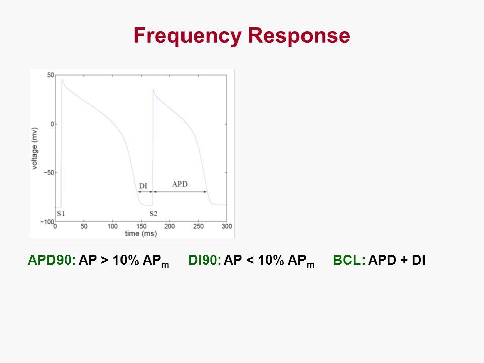 Frequency Response APD90: AP > 10% AP m DI90: AP < 10% AP m BCL: APD + DI