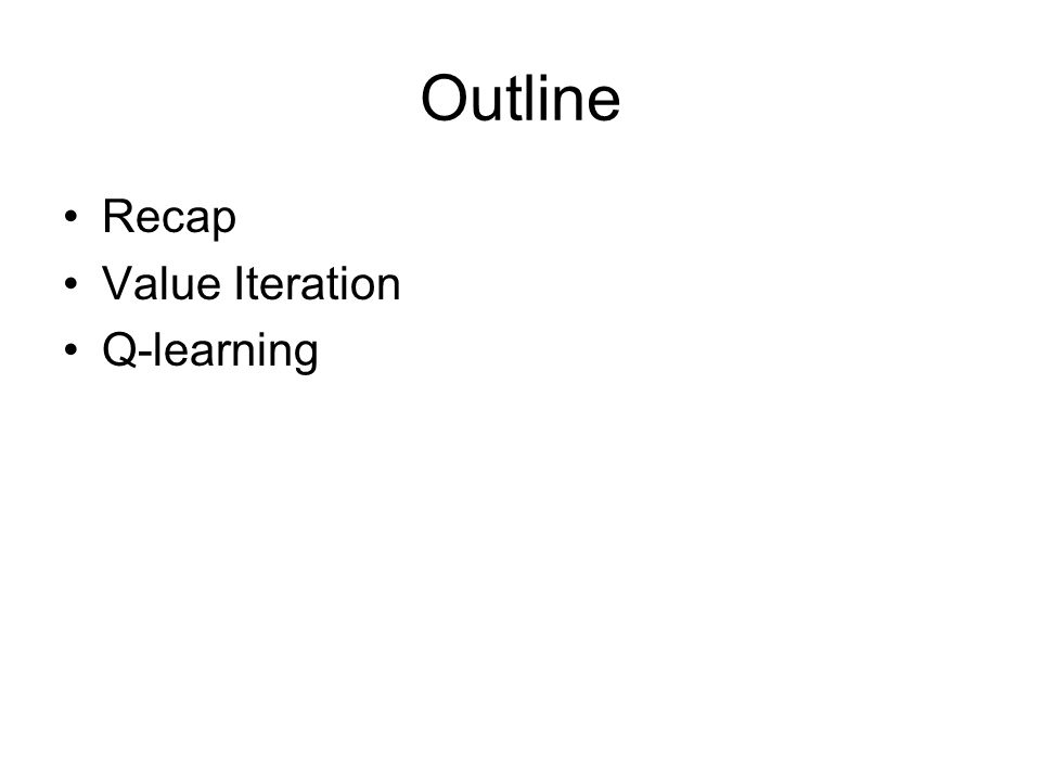 Outline Recap Value Iteration Q-learning