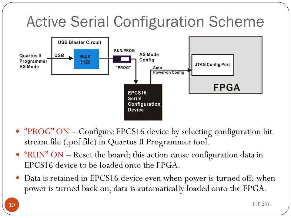 "Fall 2011 10 Active Serial Configuration Scheme ""PROG"" ON – Configure EPCS16 device by selecting configuration bit stream file (.pof file) in Quartus"