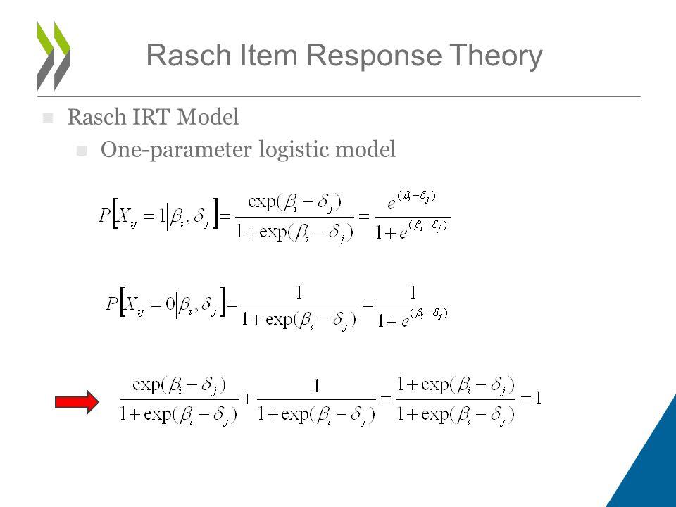 Rasch IRT Model One-parameter logistic model Rasch Item Response Theory