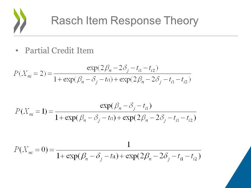 Rasch Item Response Theory Partial Credit Item