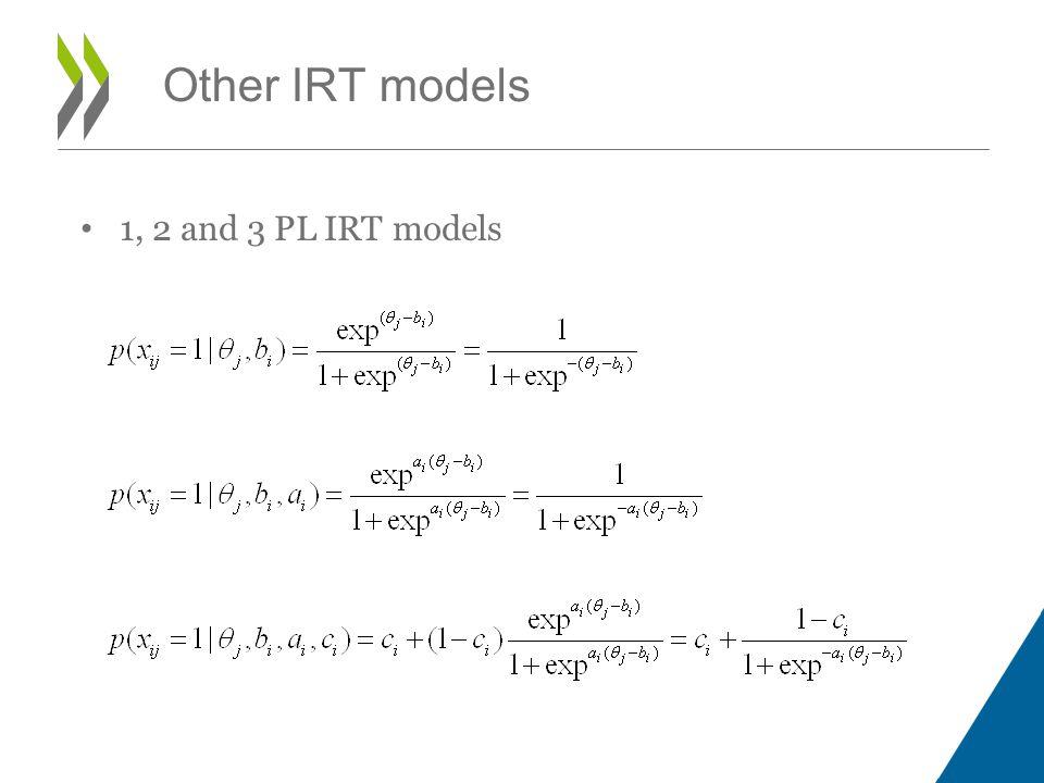 1, 2 and 3 PL IRT models