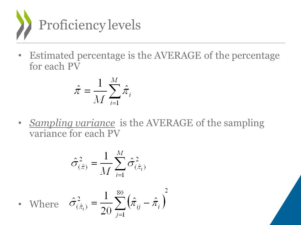 Estimated percentage is the AVERAGE of the percentage for each PV Sampling variance is the AVERAGE of the sampling variance for each PV Where Proficiency levels