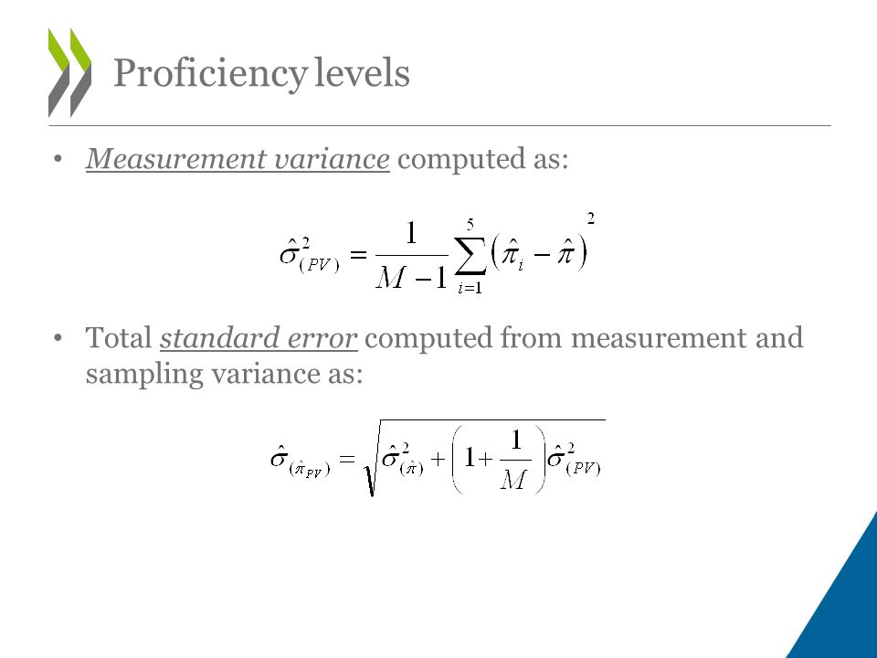 Measurement variance computed as: Total standard error computed from measurement and sampling variance as: Proficiency levels