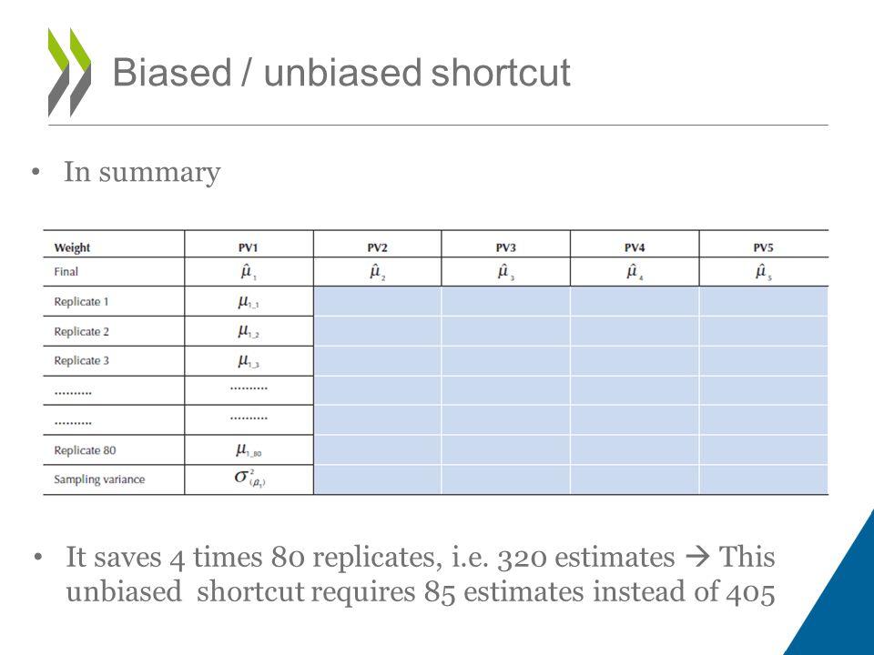 In summary Biased / unbiased shortcut It saves 4 times 80 replicates, i.e.