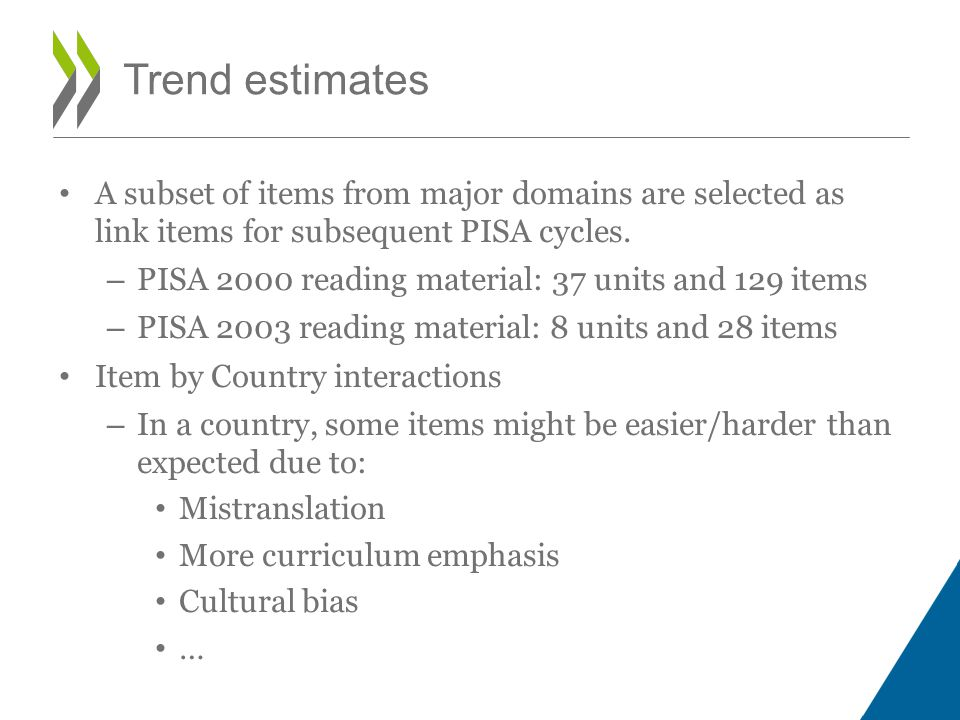Trend estimates A subset of items from major domains are selected as link items for subsequent PISA cycles.