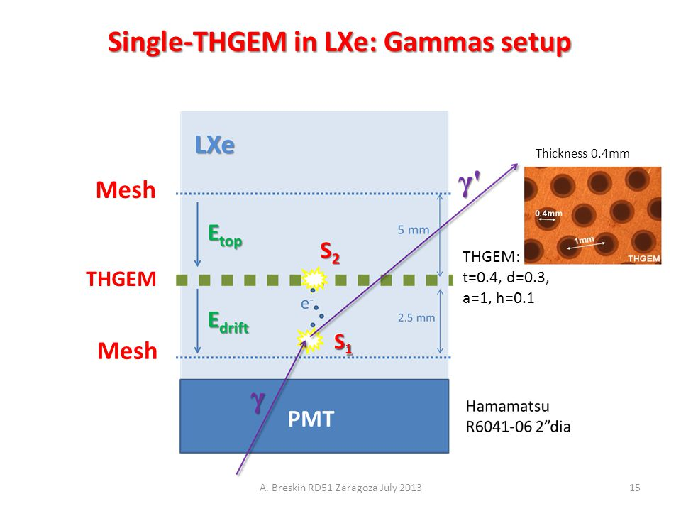 THGEM Mesh THGEM: t=0.4, d=0.3, a=1, h=0.1 S1S1S1S1 Thickness 0.4mm Single-THGEM in LXe: Gammas setup A. Breskin RD51 Zaragoza July 201315