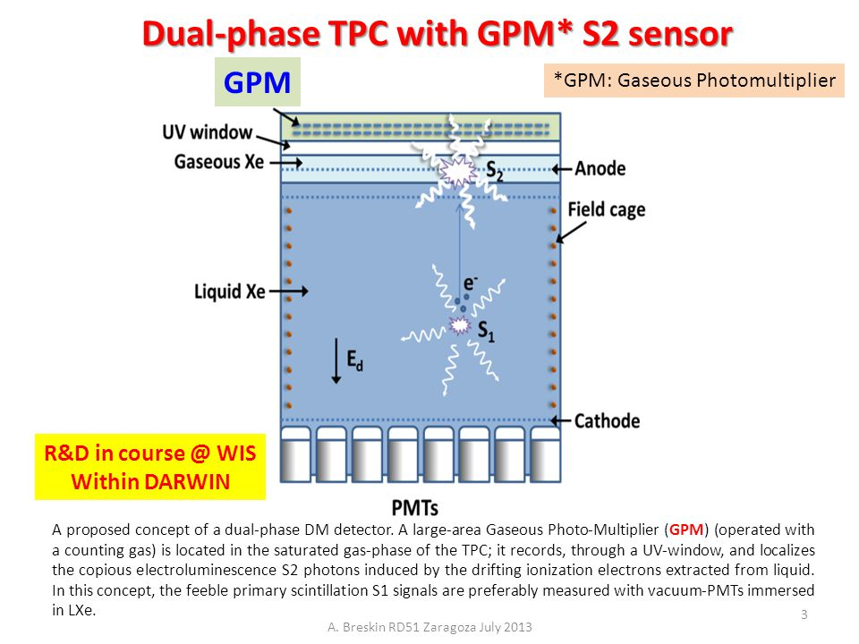 Dual-phase TPC with GPM* S2 sensor A proposed concept of a dual-phase DM detector. A large-area Gaseous Photo-Multiplier (GPM) (operated with a counti
