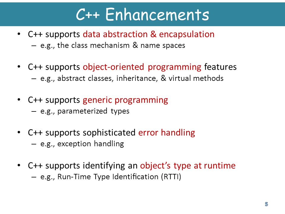 Data Abstraction Implementation in C++ Use case /* File main.c */ #include stack.h void main(void) { Stack s1 (1), s2 (100); T item; if (!s1.is_full ()) s1.push (473); if (!s2.is_full ()) s2.push (2112); if (!s2.is_empty ()) s2.pop (item); // Access violation caught at compile-time.